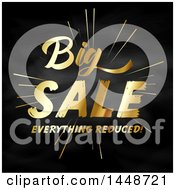 Clipart Of A Golden Big Sale Everything Reduced Design On Blackboard Royalty Free Vector Illustration