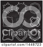 Clipart Of White Hand Drawn Frame Design Elements On A Black Board Royalty Free Vector Illustration