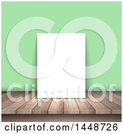 Clipart Of A Blank Picture On A Wood Table Leaning Against A Green Wall Royalty Free Vector Illustration by KJ Pargeter