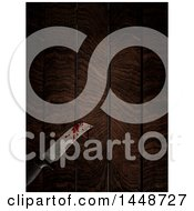 Clipart Of A 3d Blood Stained Knife On A Wood Table Royalty Free Illustration