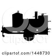 Clipart Of A Black Silhouetted Offset Barbeque Smoker Trailer Royalty Free Vector Illustration
