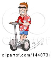 Cartoon Happy White Male Tourist Wearing A Floral Shirt And Riding A Segway