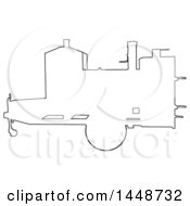 Poster, Art Print Of Black Outline Silhouette Offset Barbeque Smoker Trailer
