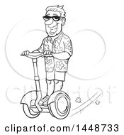 Cartoon Black And White Lineart Happy Male Tourist Wearing A Floral Shirt And Riding A Segway