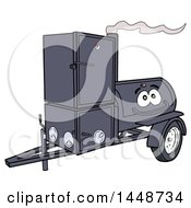 Cartoon Lang Offset Barbeque Smoker Trailer Mascot