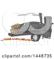 Clipart Of A Cartoon Racing Lang 84 Inch Deluxe Barbeque Smoker Trailer Royalty Free Vector Illustration