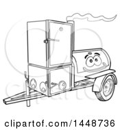 Clipart Of A Cartoon Black And White Lineart Lang Offset Barbeque Smoker Trailer Mascot Royalty Free Vector Illustration