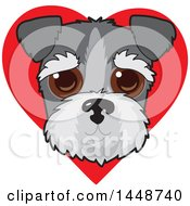 Poster, Art Print Of Cute Schnauzer Dog Face Over A Red Love Heart