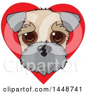Cute Wheaten Terrier Dog Face Over A Red Love Heart
