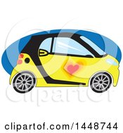 Clipart Of A Cute Yellow And Black Smart Car With A Love Heart Over A Blue Oval Royalty Free Vector Illustration