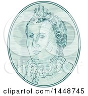 Clipart Of A Sketched Drawing Styled Bust Of An 18th Century European Empress Royalty Free Vector Illustration