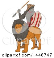 Clipart Of A Sketched Drawing Styled African Warrior With A Spear And Shield Standing Behind A Lion Royalty Free Vector Illustration