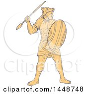 Sketched Drawing Styled African Warrior Holding A Spear And Shield