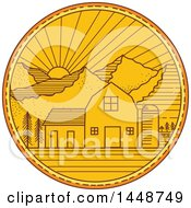 Clipart Of A Sketched Mono Line Styled American Barn With Silo Against A Mountainous Sunset Royalty Free Vector Illustration by patrimonio