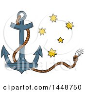 Clipart Of A Sketched Drawing Styled Nautical Anchor And Rope With The Southern Star Constellation Royalty Free Vector Illustration by patrimonio