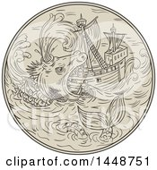 Clipart Of A Sketched Drawing Styled Sea Monster Attacking A Ship Royalty Free Vector Illustration