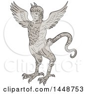 Sketched Drawing Styled Ancient 16th Century Monster With Horned Human Head Body Of An Eagle And Serpentine Tail