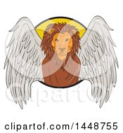 Clipart Of A Sketched Drawing Styled Winged Lion Emerging From A Circle Royalty Free Vector Illustration