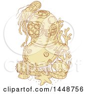 Clipart Of A Sketched Drawing Styled Vintage Deep Sea Divig Helmet Underwater With Jellyfish And Sea Creatures Royalty Free Vector Illustration