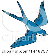 Clipart Of A Sketched Drawing Styled Flying Blue Swallow Bird Royalty Free Vector Illustration