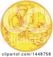 Clipart Of A Sketched Drawing Styled Swiss Man Making Cheese Royalty Free Vector Illustration by patrimonio