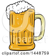 Clipart Of A Sketched Drawing Styled Frothy Beer Mug Royalty Free Vector Illustration