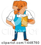 Cartoon Sketched Styled Bordeaux Mastiff Dog Wearing An Aprion And Holding A Beer Mug
