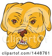 Cartoon Sketched Styled Bordeaux Mastiff Dog Face