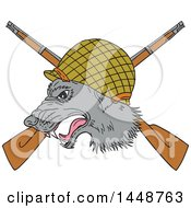 Clipart Of A Sketched Drawing Styled Grey Wolf Head With A WWII Helmet Over Crossed Rifles Royalty Free Vector Illustration