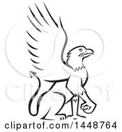 Clipart Of A Black And White Sketched Griffin Royalty Free Vector Illustration