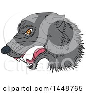 Clipart Of A Sketched Drawing Styled Growling Wolf Head In Profile Royalty Free Vector Illustration