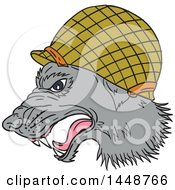 Clipart Of A Sketched Drawing Styled Grey Wolf Head In Profile Wearing A WWII Helmet Royalty Free Vector Illustration