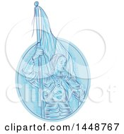 Clipart Of A Sketched Drawing Styled Joan Of Arc Holding A Flag In Blue Tones Royalty Free Vector Illustration