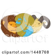 Clipart Of A Sketched Drawing Styled Globe Of The Middle East With A Lion And Goat Royalty Free Vector Illustration