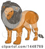 Clipart Of A Sketched Drawing Styled Standing Lion Royalty Free Vector Illustration
