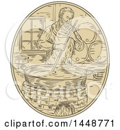 Clipart Of A Sketched Drawing Styled Medieval Monk Brewing Beer Royalty Free Vector Illustration by patrimonio