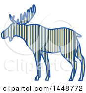 Clipart Of A Sketched Drawing Styled Striped Moose In Profile Royalty Free Vector Illustration by patrimonio