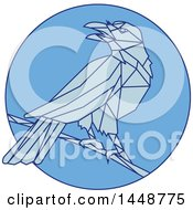 Clipart Of A Sketched Mono Line Styled Perched Crow Bird In Blue Tones Royalty Free Vector Illustration by patrimonio