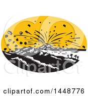 Clipart Of A Retro Woodcut Scene Of An Erupting Volcano In An Oval Royalty Free Vector Illustration