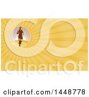 Retro Female Marathon Runner And Yellow Rays Background Or Business Card Design