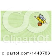 Clipart Of A Waving Bee Flying With A Basket Of Bread And Green Rays Background Or Business Card Design Royalty Free Illustration
