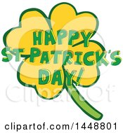 Clipart Of A Four Leaf Clover Shamrock And Happy St Patricks Day Greeting Royalty Free Vector Illustration by Cherie Reve