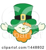 Clipart Of A Cute St Patricks Day Leprechaun With Open Arms Royalty Free Vector Illustration by Cherie Reve