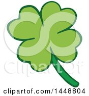 Clipart Of A Four Leaf St Patricks Day Clover Shamrock Royalty Free Vector Illustration