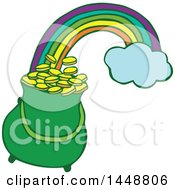 Clipart Of A St Patricks Day Pot Of Leprechauns Gold At The End Of A Rainbow Royalty Free Vector Illustration