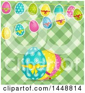Green Background With Bunting Banners And Easter Eggs