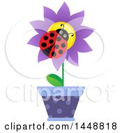 Clipart Of A Ladybug On A Purple Potted Flower Royalty Free Vector Illustration