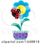 Clipart Of A Ladybug On A Blue Potted Flower Royalty Free Vector Illustration