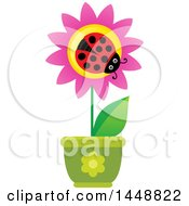 Clipart Of A Ladybug On A Pink Potted Flower Royalty Free Vector Illustration