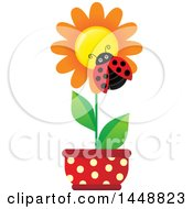 Clipart Of A Ladybug On An Orange Potted Flower Royalty Free Vector Illustration